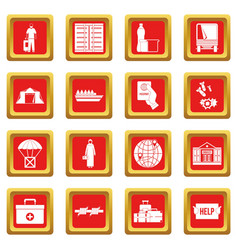 Refugees problem icons set red vector