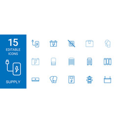 15 supply icons vector