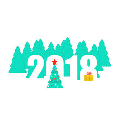 2018 new year template christmas tree and winter vector image