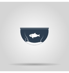 Aquarium and fish icon vector image