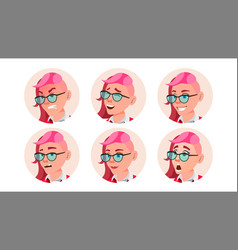 Avatar woman facial emotions round vector