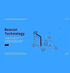 Beacon wireless technology isometric web banner vector
