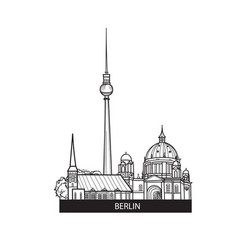 Berlin city landmarks label travel germany sign vector