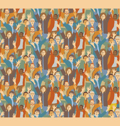Big crowd happy people seamless pattern vector