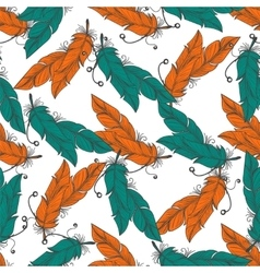 Boho seamless pattern with feathers vector image
