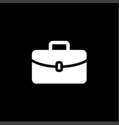 briefcase icon on black background black flat vector image