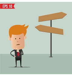Business man thinking choice for route vector