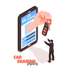 Car sharing isometric concept vector