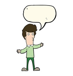 cartoon startled man with speech bubble vector image