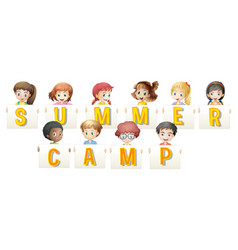 children holding words for summer camp vector image