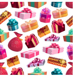 christmas holiday gifts seamless pattern vector image