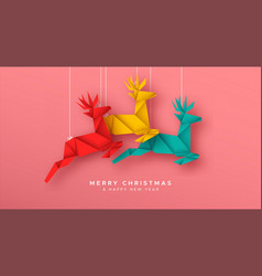 christmas new year reindeer paper origami card vector image