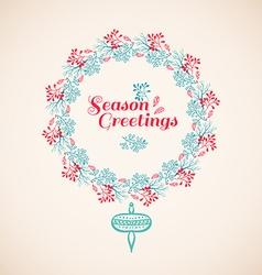 Christmas wreath drawn vector image vector image