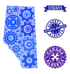 Collage map of alberta province with gears and vector