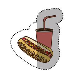 color hot dog and soda icon vector image