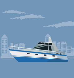 Color poster city landscape with boat over water vector