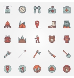 Colorful hiking icons vector