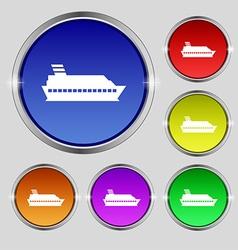 Cruise sea ship icon sign Round symbol on bright vector