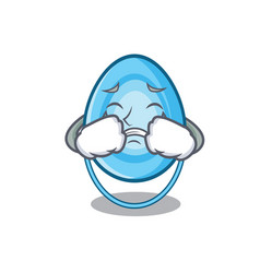 crying oxygen mask mascot cartoon vector image