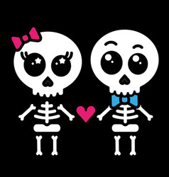 Cute kawaii skeleton love couple boy and girl vector