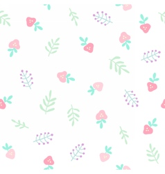 Cute tiny flowers and berries Seamless pattern vector