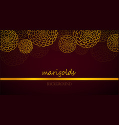 Dark red banner with golden marigolds vector
