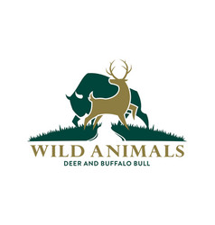 Deer and buffalo symbols in the wild vector