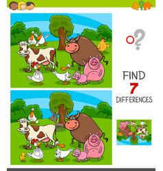 differences game with farm animal characters vector image