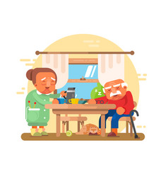 elderly grandparents breakfast flat vector image