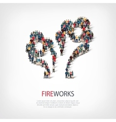 Fireworks people sign 3d vector