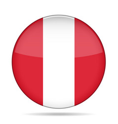 Flag of peru shiny round button vector