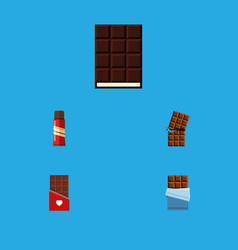 flat icon cacao set of bitter dessert sweet and vector image