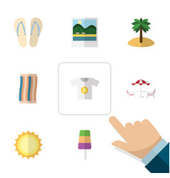 Flat icon summer set of reminders clothes vector
