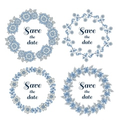 Floral Wreaths Set Blue Gray vector image vector image