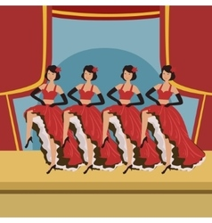 Four Dancers Doing Cancan On Theatre Stage vector image