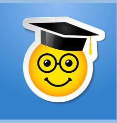 graduating smile emoji glasses vector image