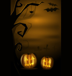 Halloween landscape with pumkins and cemetery vector