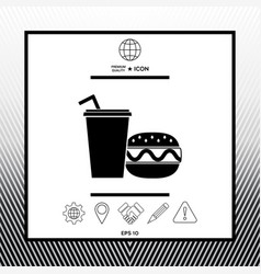 Hamburger or cheeseburger paper cup with drinking vector