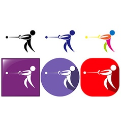 Hammer throwing icon in three designs vector image