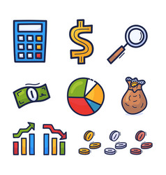hand drawn financial investment icons money vector image