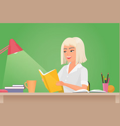Happy girl reading book young woman student vector