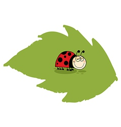 Happy Ladybug On A Leaf vector image