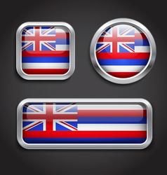 Hawaii flag glass buttons vector