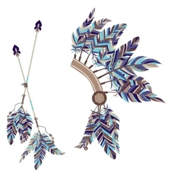 Headdress indians and two arrows with feathers vector