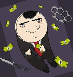 Hitman in funny cartoon style vector