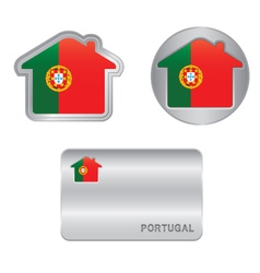 Home icon on the Portugal flag vector image vector image