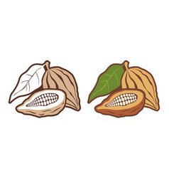 icons set cocoa beans vector image