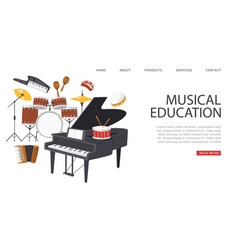 Inscription musical education banner ad vector