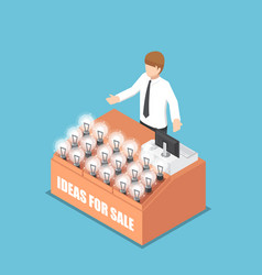 isometric businessman selling his idea vector image
