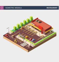 isometric restaurant or pizzerie building vector image